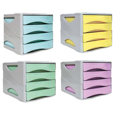 Mini Cassettiere Da Scrivania.Cassettiera 4 Cassetti Keep Colour Pastel Colori Assortiti