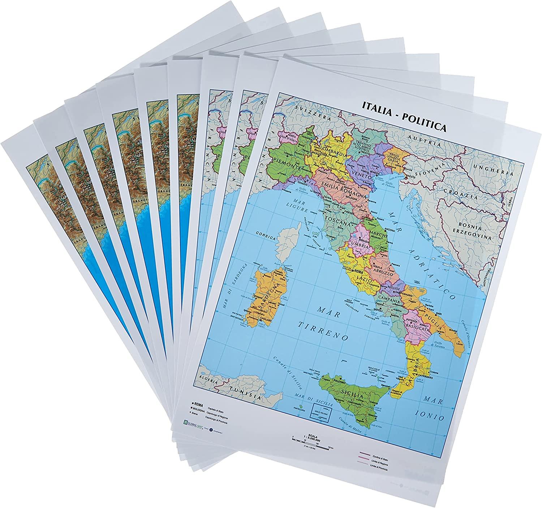 Marche Cartina Geografica Politica.Cartine Geografiche 21x29 7 Italia Politica Fisica 09343 Accessori Mazzarella